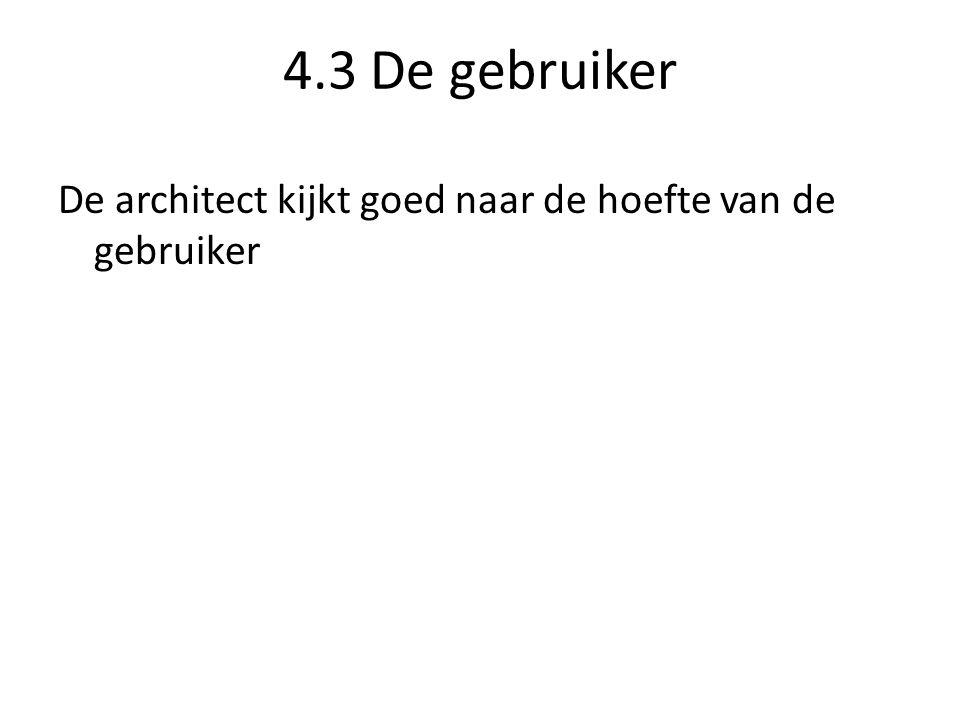 4.3 De gebruiker De architect kijkt goed naar de hoefte van de gebruiker