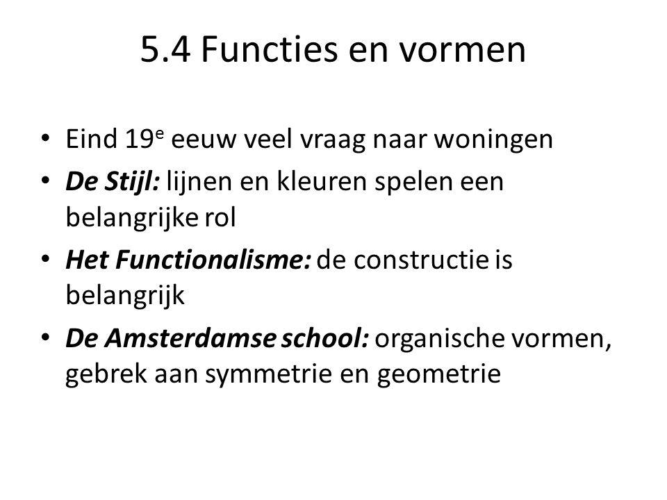 5.4 Functies en vormen Eind 19e eeuw veel vraag naar woningen