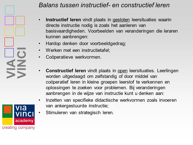 Balans tussen instructief- en constructief leren