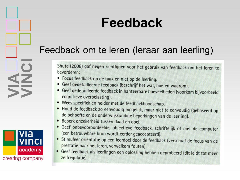 Feedback Feedback om te leren (leraar aan leerling)