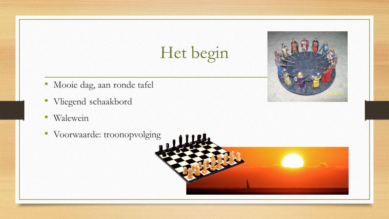 Het begin Mooie dag, aan ronde tafel Vliegend schaakbord Walewein