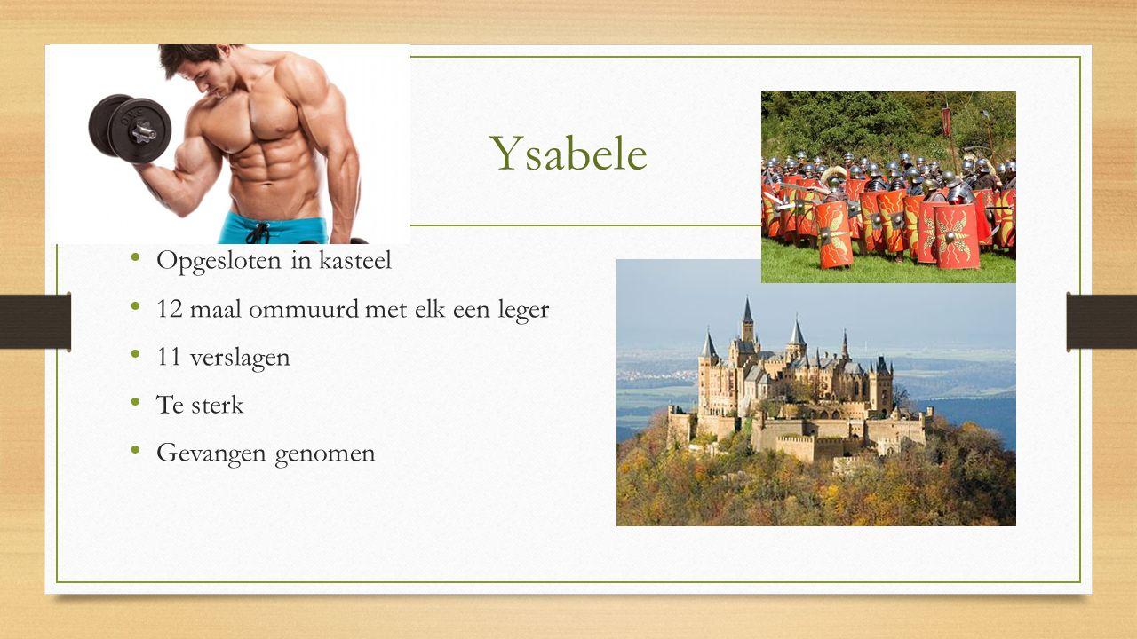 Ysabele Opgesloten in kasteel 12 maal ommuurd met elk een leger