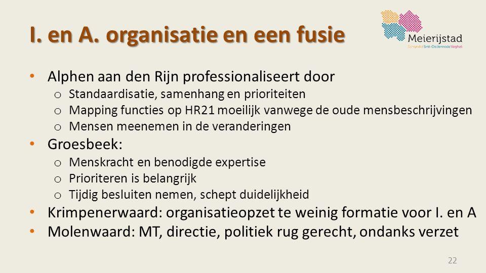 I. en A. organisatie en een fusie