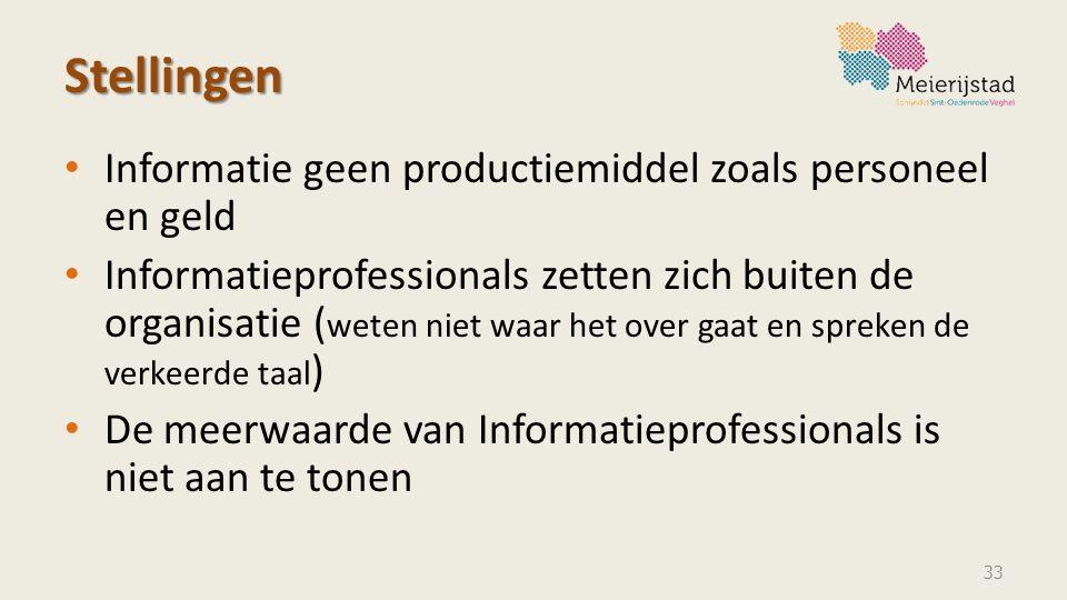 Stellingen Informatie geen productiemiddel zoals personeel en geld