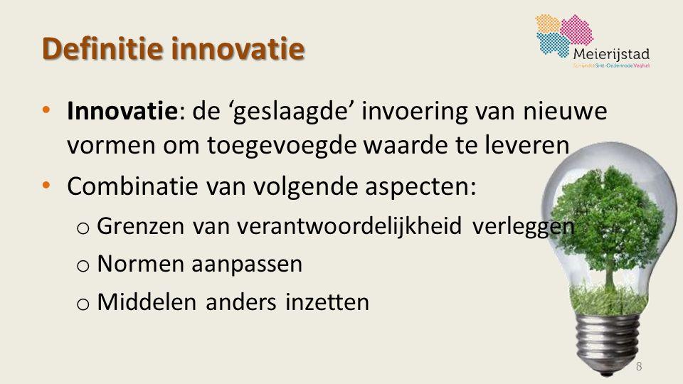 Definitie innovatie Innovatie: de 'geslaagde' invoering van nieuwe vormen om toegevoegde waarde te leveren.