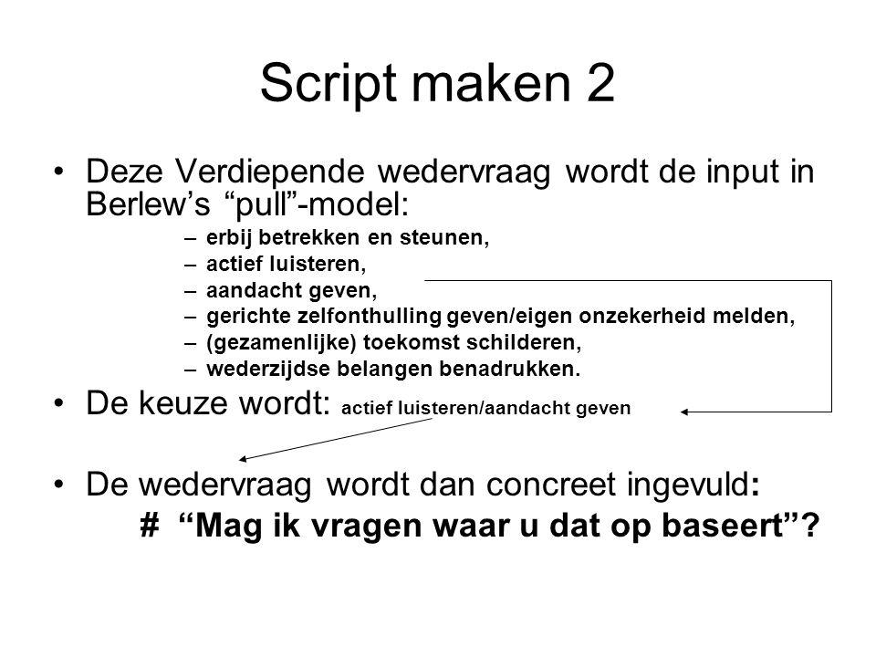 Script maken 2 Deze Verdiepende wedervraag wordt de input in Berlew's pull -model: erbij betrekken en steunen,