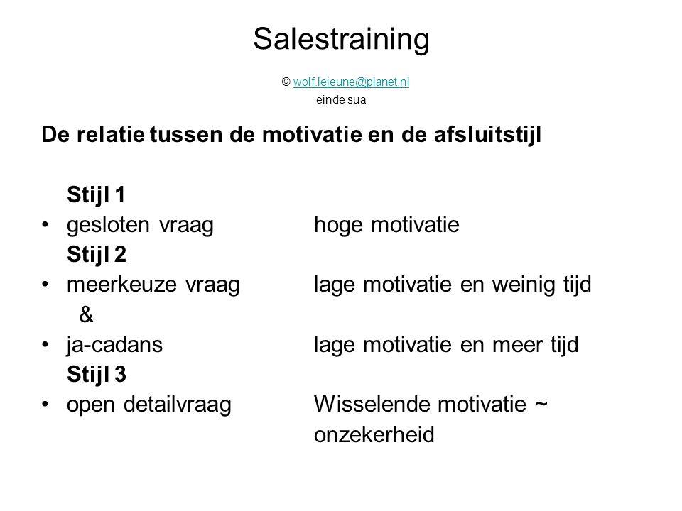 Salestraining © wolf.lejeune@planet.nl einde sua