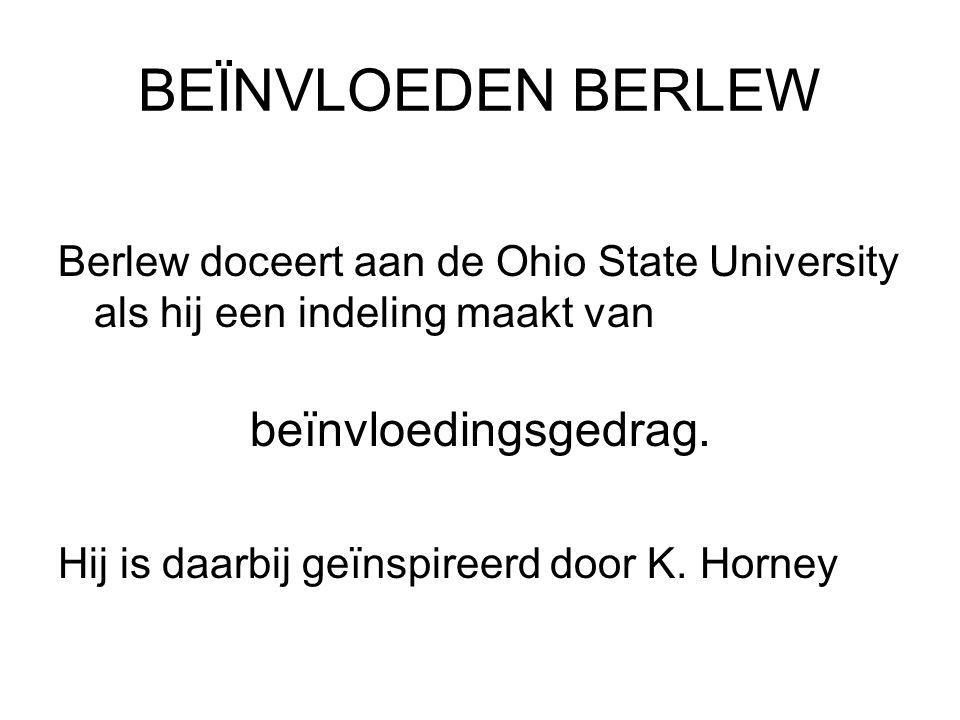 BEÏNVLOEDEN BERLEW Berlew doceert aan de Ohio State University als hij een indeling maakt van. beïnvloedingsgedrag.