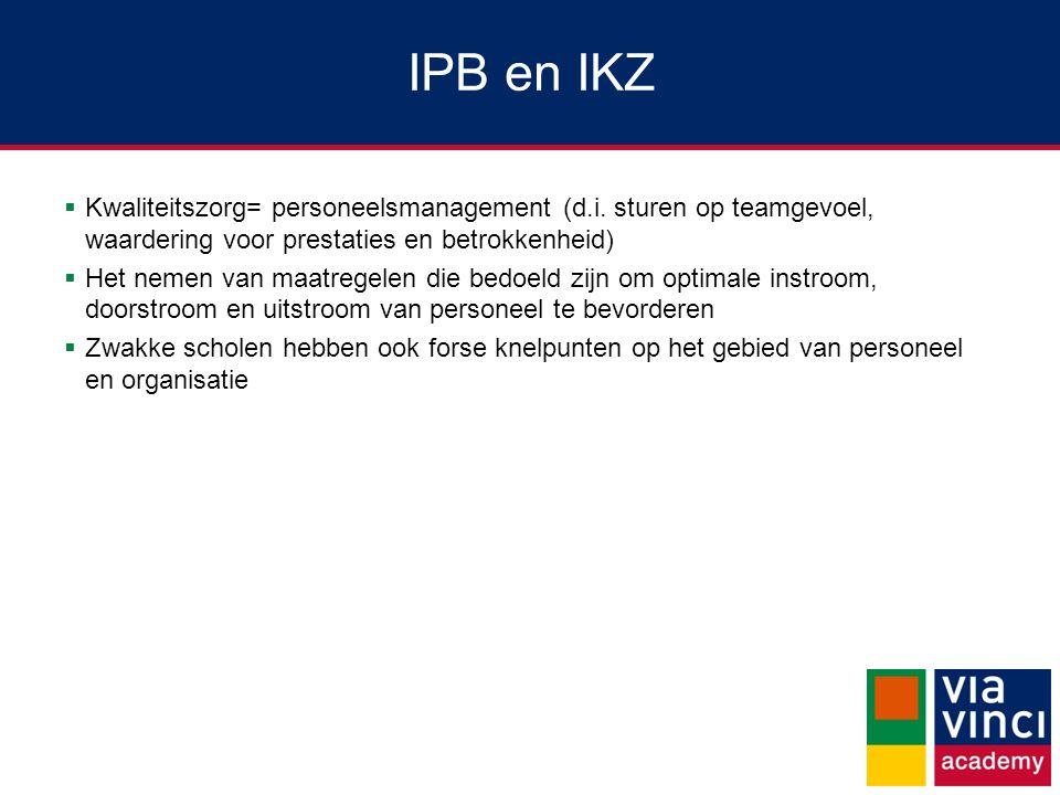 IPB en IKZ Kwaliteitszorg= personeelsmanagement (d.i. sturen op teamgevoel, waardering voor prestaties en betrokkenheid)