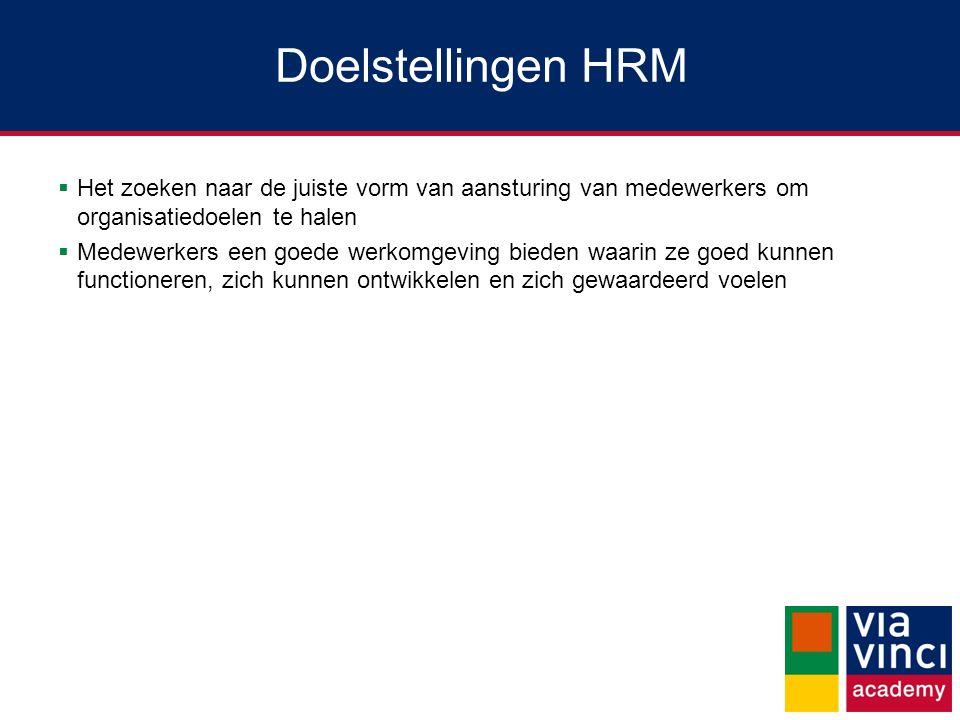 Doelstellingen HRM Het zoeken naar de juiste vorm van aansturing van medewerkers om organisatiedoelen te halen.