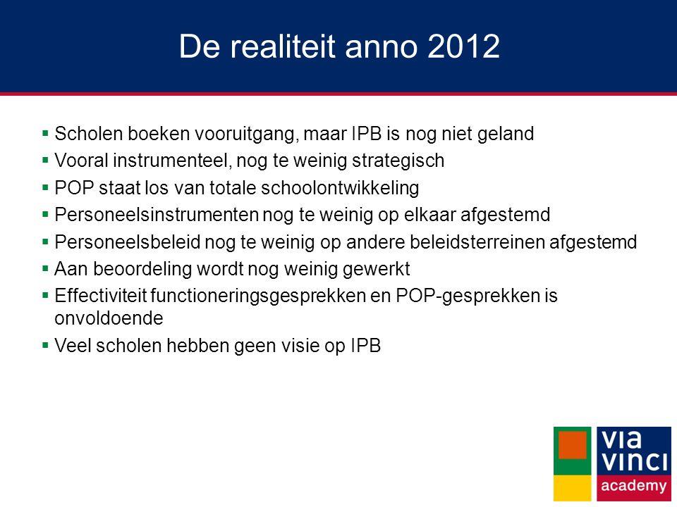 De realiteit anno 2012 Scholen boeken vooruitgang, maar IPB is nog niet geland. Vooral instrumenteel, nog te weinig strategisch.