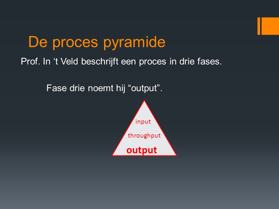 De proces pyramide output