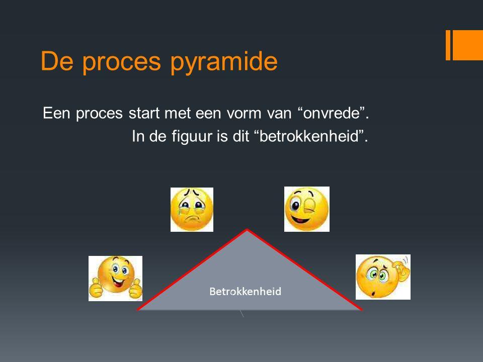 De proces pyramide Een proces start met een vorm van onvrede . In de figuur is dit betrokkenheid .