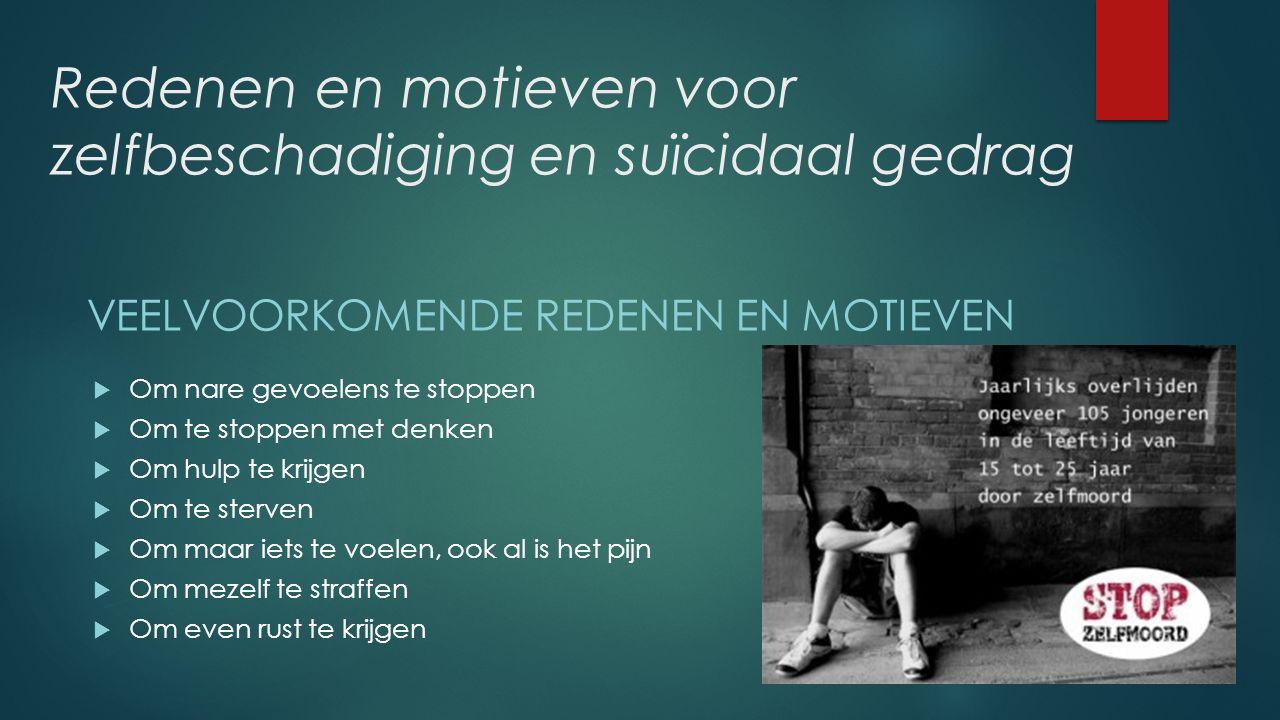 Redenen en motieven voor zelfbeschadiging en suïcidaal gedrag