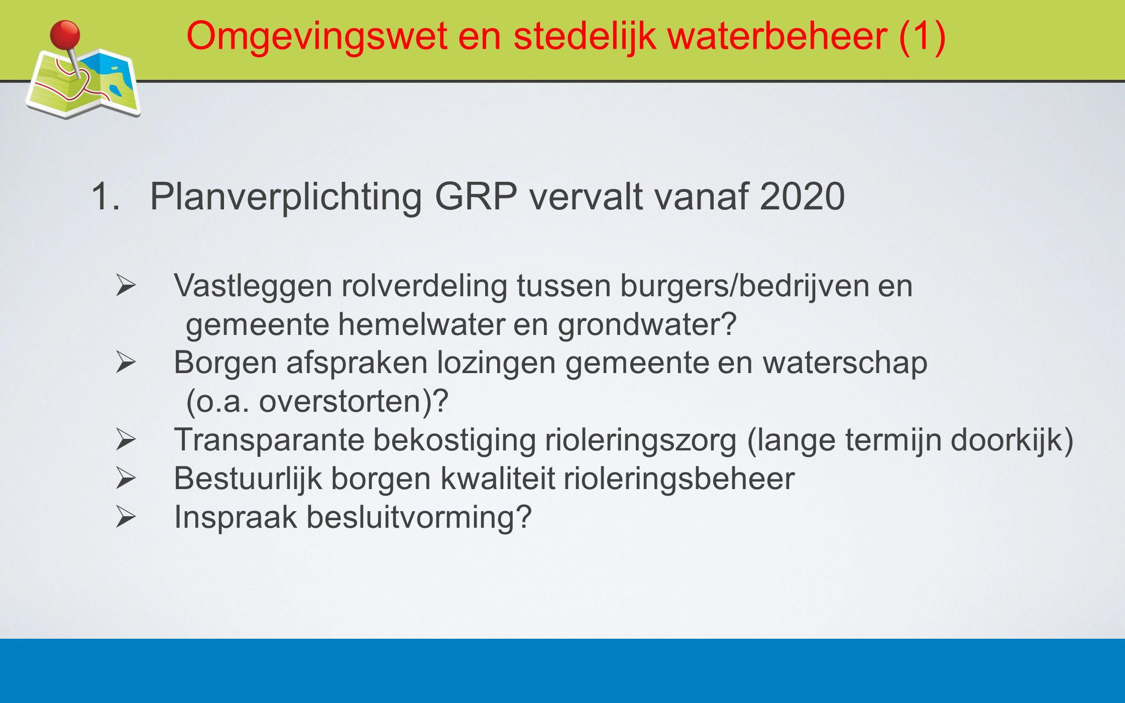 Omgevingswet en stedelijk waterbeheer (1)