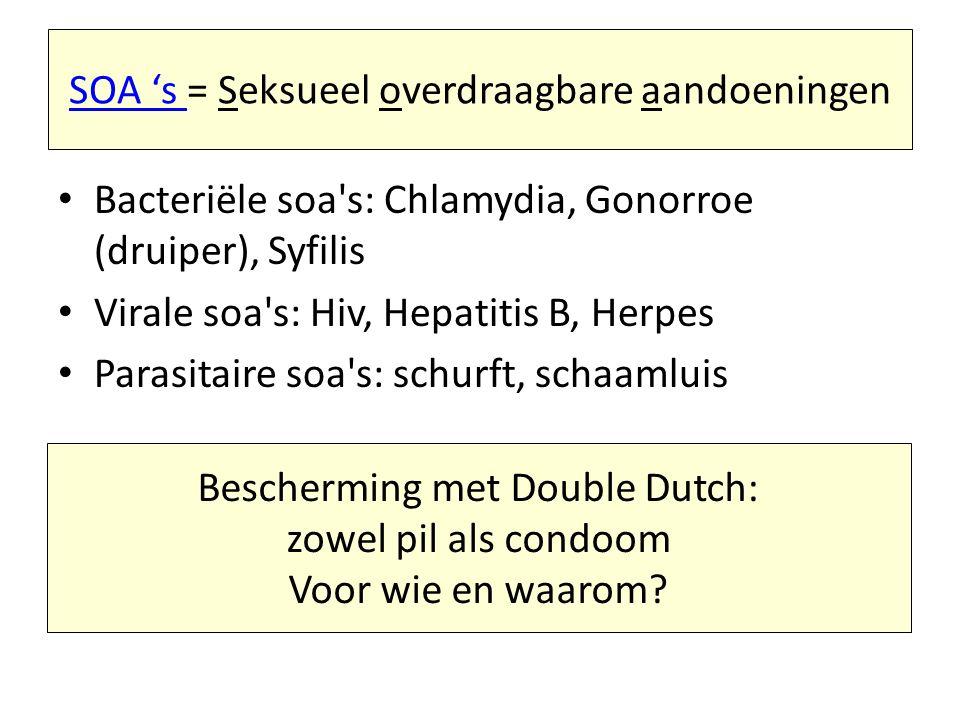 SOA 's = Seksueel overdraagbare aandoeningen