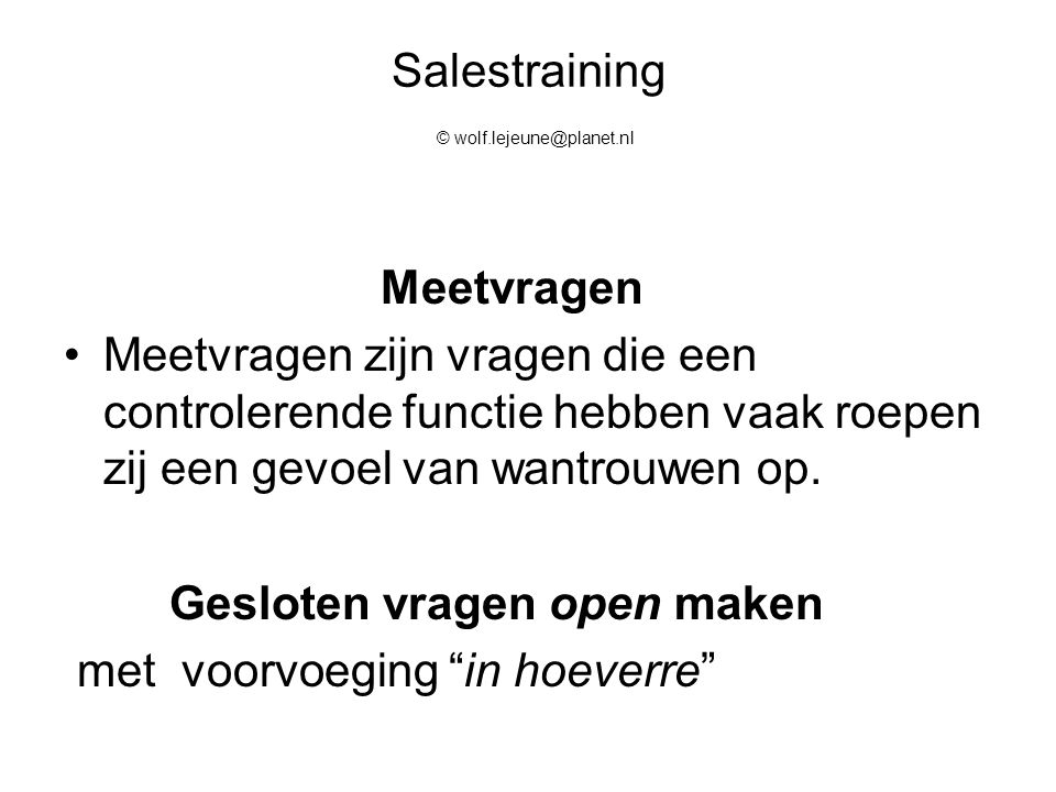 Salestraining © wolf.lejeune@planet.nl