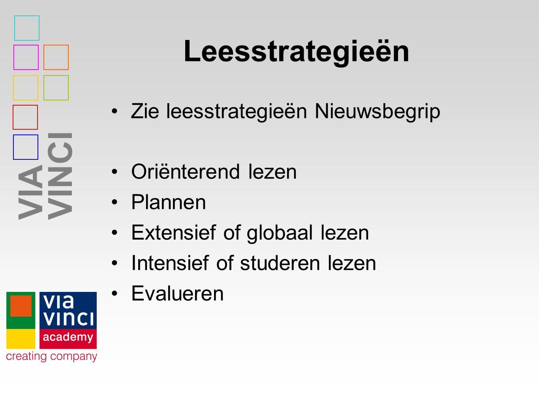 Leesstrategieën Zie leesstrategieën Nieuwsbegrip Oriënterend lezen