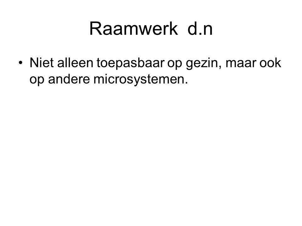 Raamwerk d.n Niet alleen toepasbaar op gezin, maar ook op andere microsystemen.