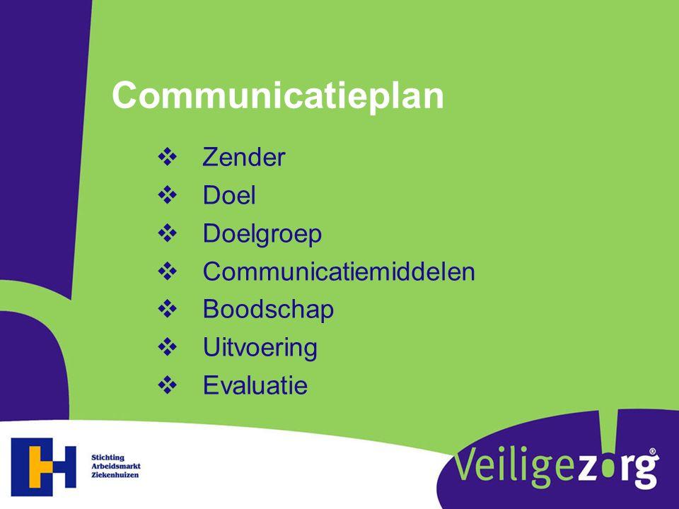 Communicatieplan Zender Doel Doelgroep Communicatiemiddelen Boodschap