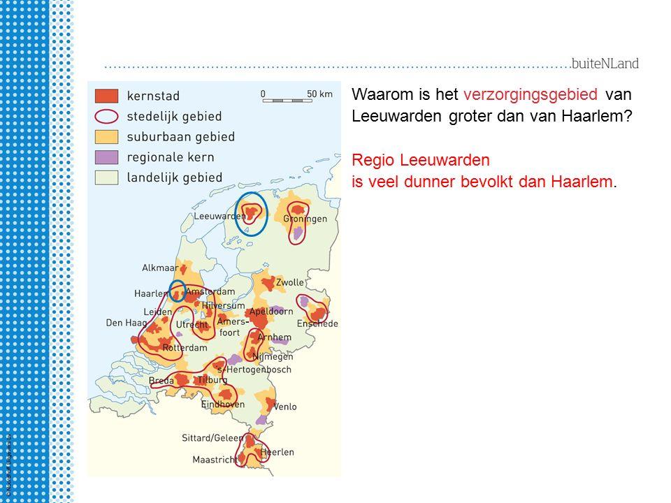 Waarom is het verzorgingsgebied van Leeuwarden groter dan van Haarlem