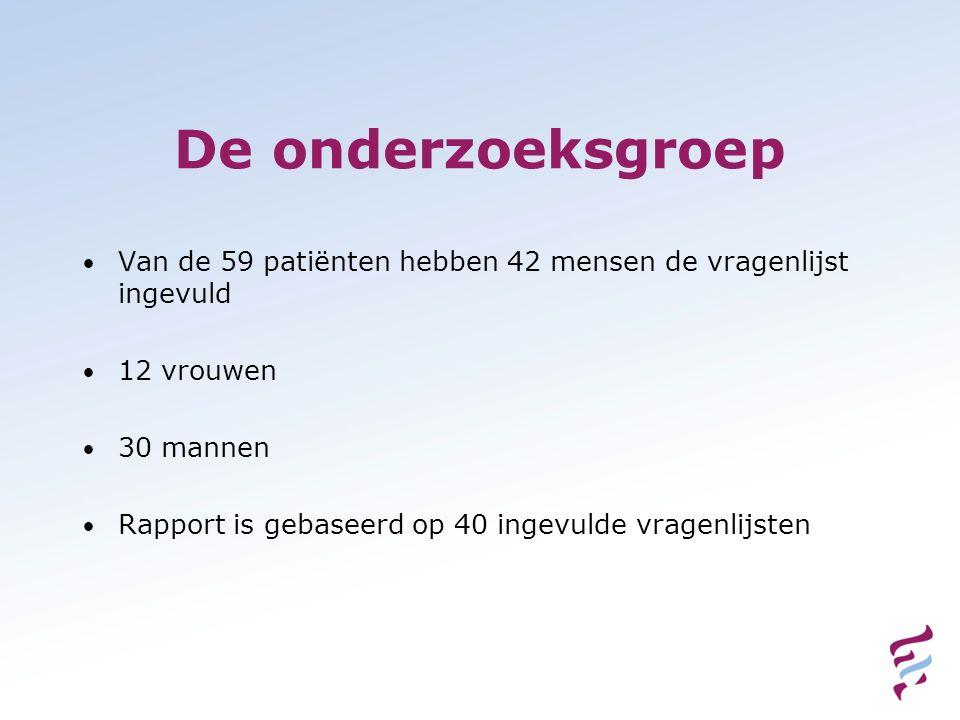 De onderzoeksgroep Van de 59 patiënten hebben 42 mensen de vragenlijst ingevuld. 12 vrouwen. 30 mannen.