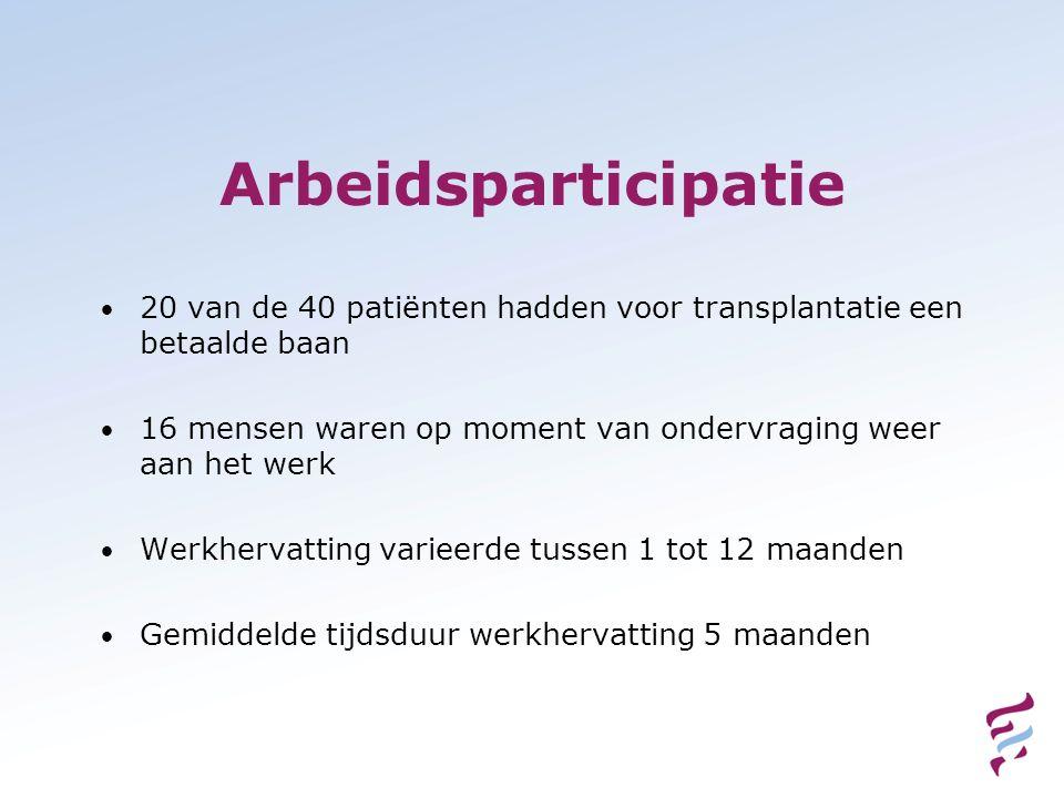 Arbeidsparticipatie 20 van de 40 patiënten hadden voor transplantatie een betaalde baan.