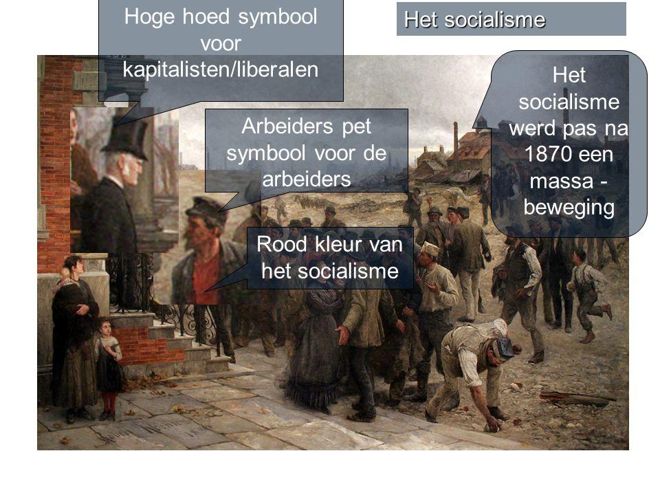 Hoge hoed symbool voor kapitalisten/liberalen Het socialisme