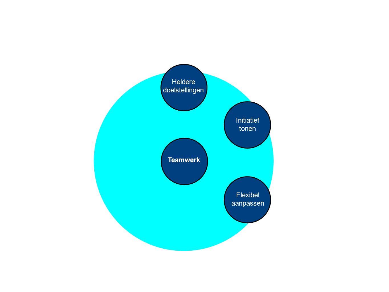 Heldere doelstellingen Initiatief tonen Teamwerk Flexibel aanpassen