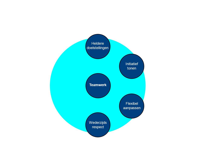 Heldere doelstellingen Initiatief tonen Teamwerk Flexibel aanpassen Wederzijds respect