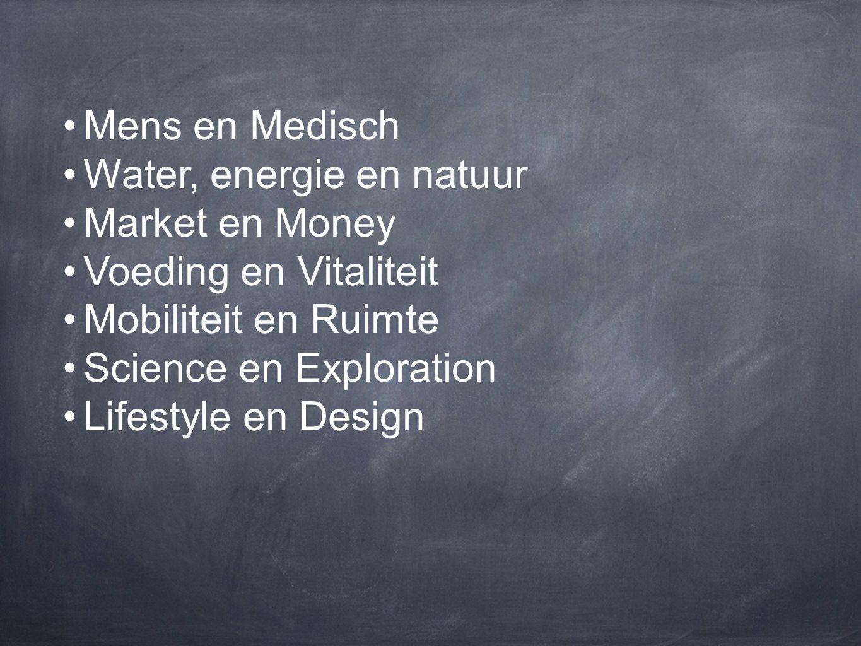 Mens en Medisch Water, energie en natuur. Market en Money. Voeding en Vitaliteit. Mobiliteit en Ruimte.