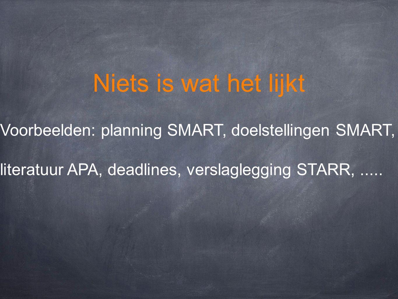 Niets is wat het lijkt Voorbeelden: planning SMART, doelstellingen SMART, literatuur APA, deadlines, verslaglegging STARR, .....