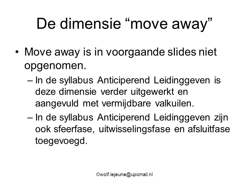 De dimensie move away