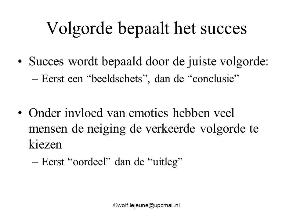 Volgorde bepaalt het succes
