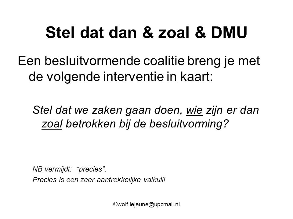 Stel dat dan & zoal & DMU Een besluitvormende coalitie breng je met de volgende interventie in kaart: