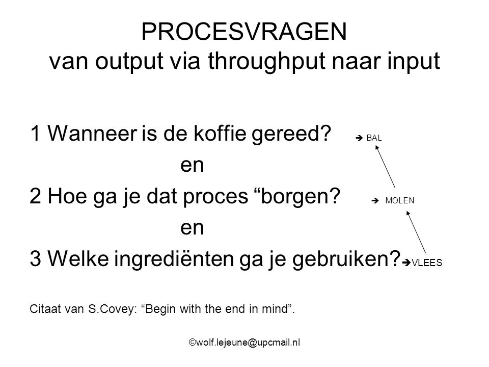 PROCESVRAGEN van output via throughput naar input