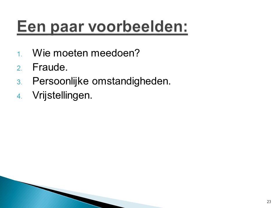 Een paar voorbeelden: Wie moeten meedoen Fraude.