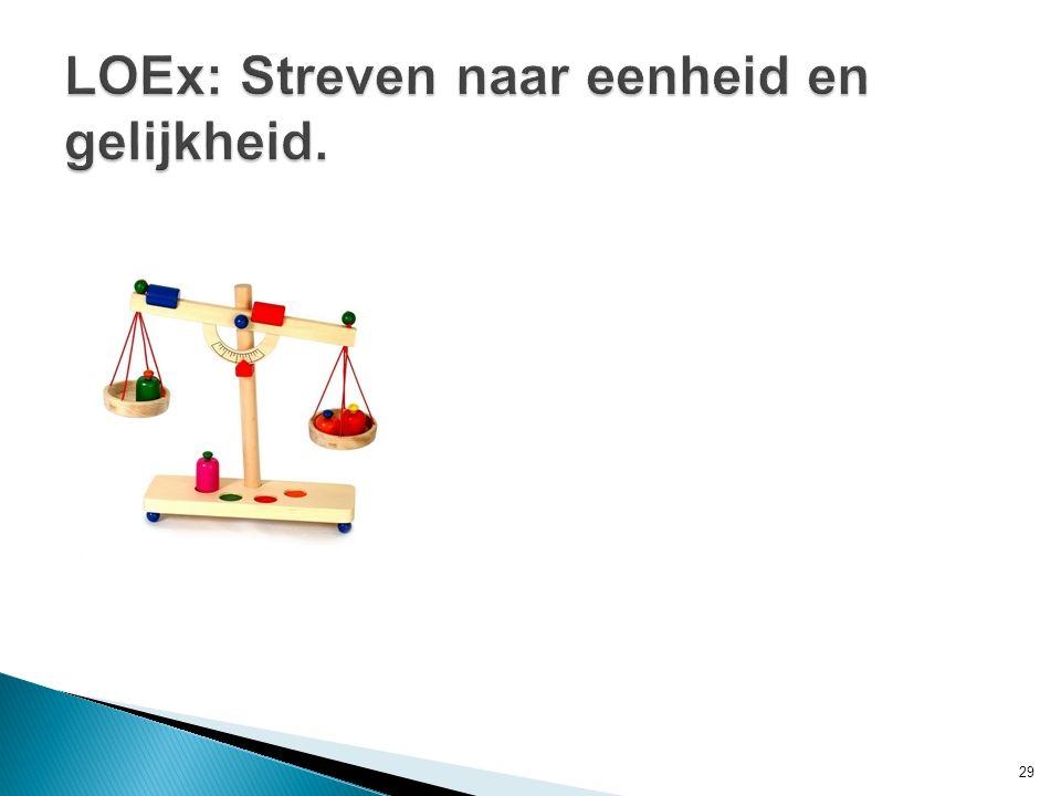 LOEx: Streven naar eenheid en gelijkheid.