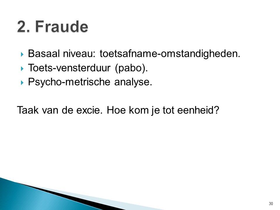 2. Fraude Basaal niveau: toetsafname-omstandigheden.