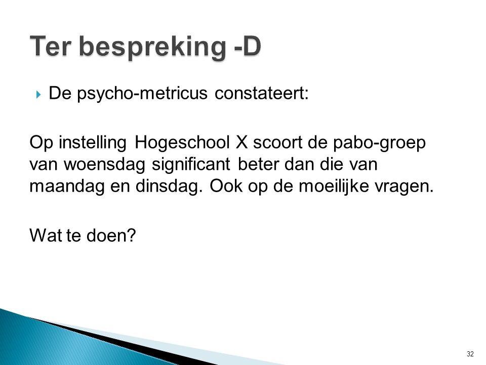 Ter bespreking -D De psycho-metricus constateert: