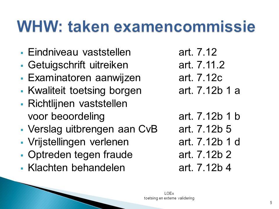 WHW: taken examencommissie