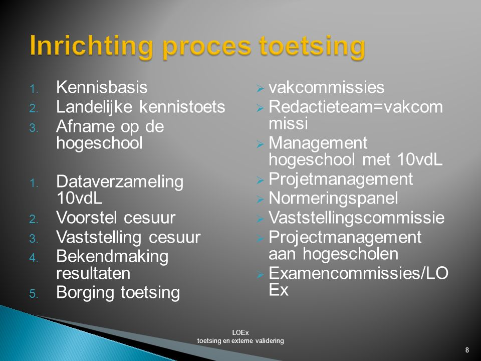 Inrichting proces toetsing