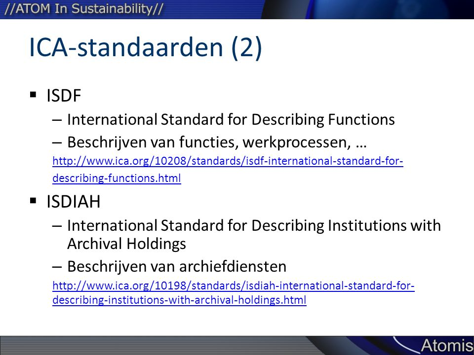 ICA-standaarden (2) ISDF ISDIAH