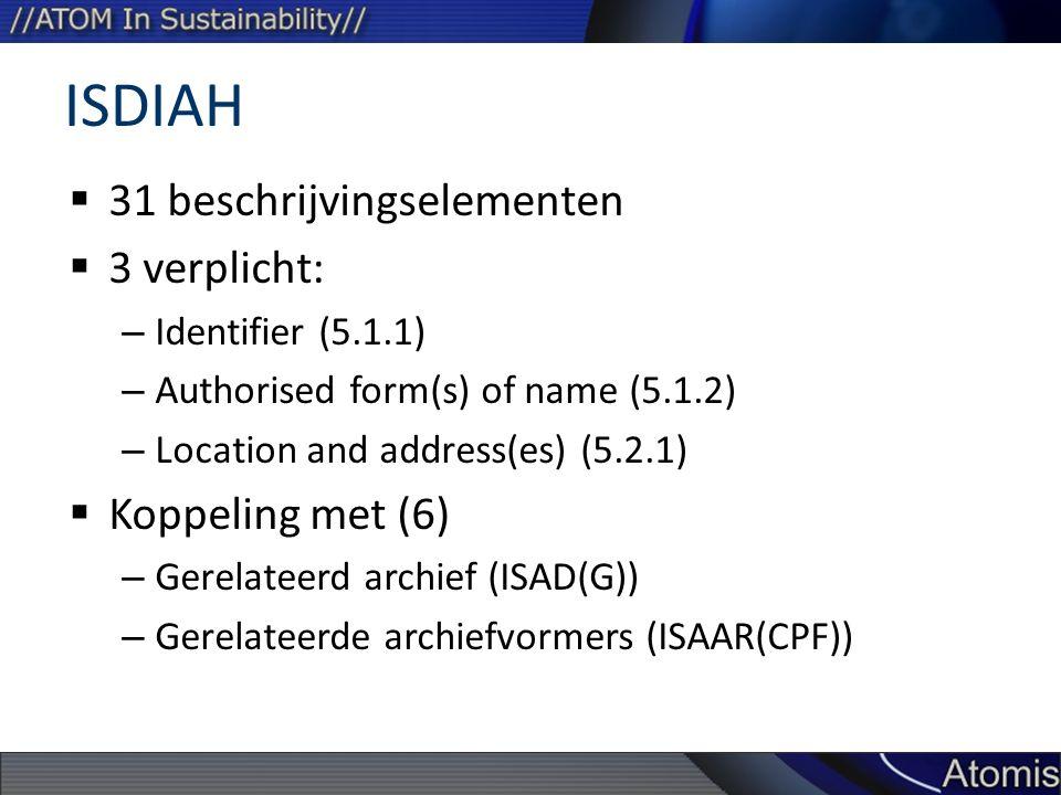 ISDIAH 31 beschrijvingselementen 3 verplicht: Koppeling met (6)