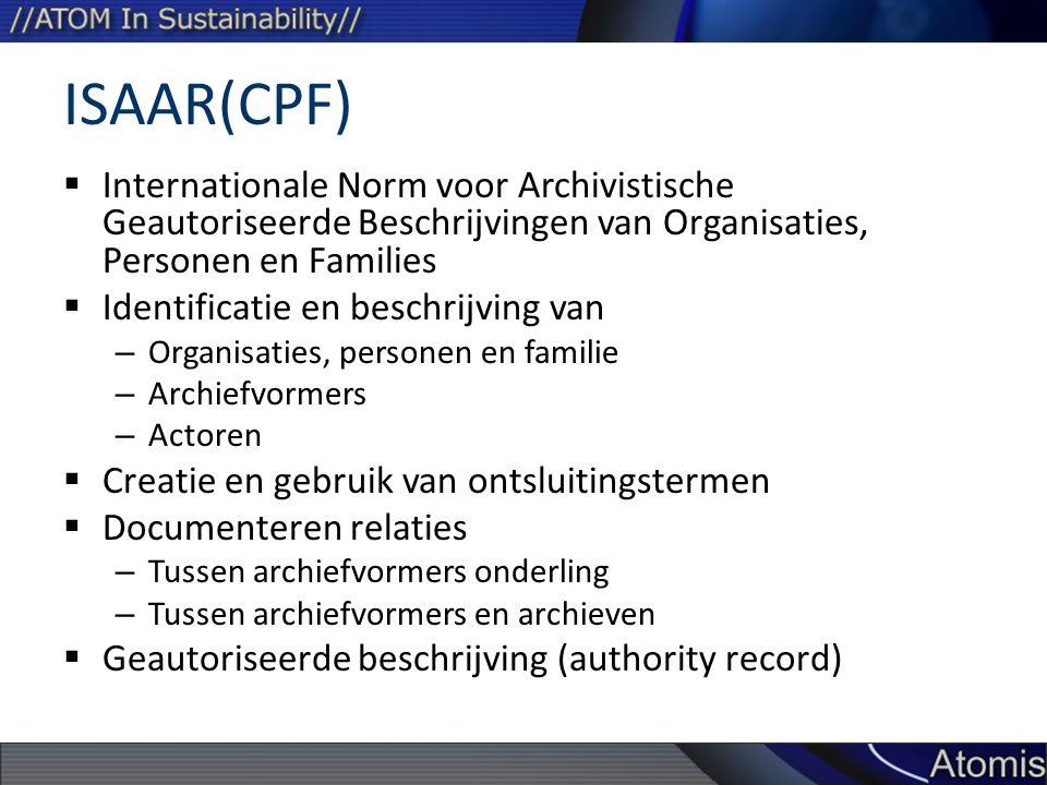 ISAAR(CPF) Internationale Norm voor Archivistische Geautoriseerde Beschrijvingen van Organisaties, Personen en Families.