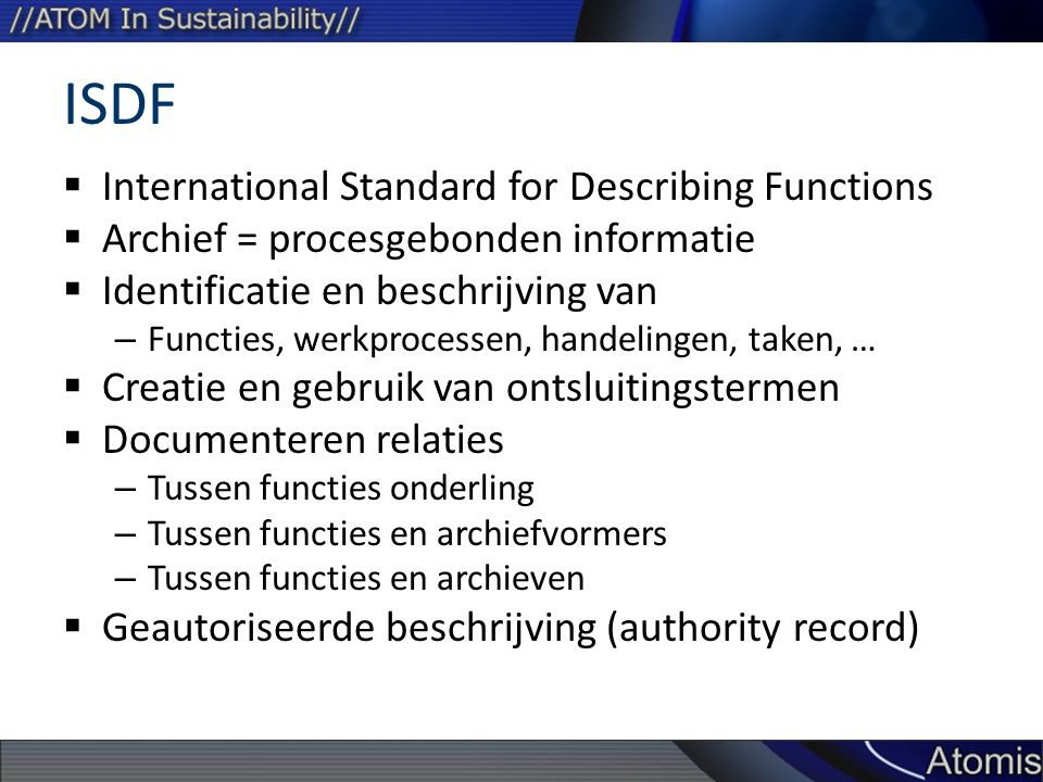 ISDF International Standard for Describing Functions