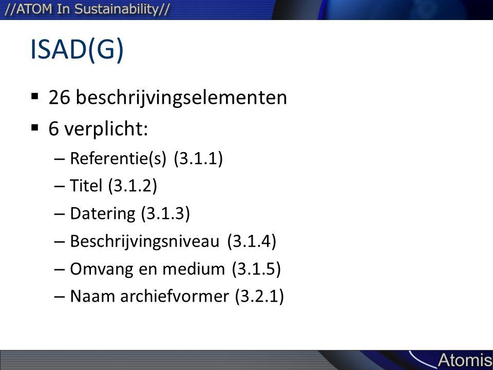ISAD(G) 26 beschrijvingselementen 6 verplicht: Referentie(s) (3.1.1)