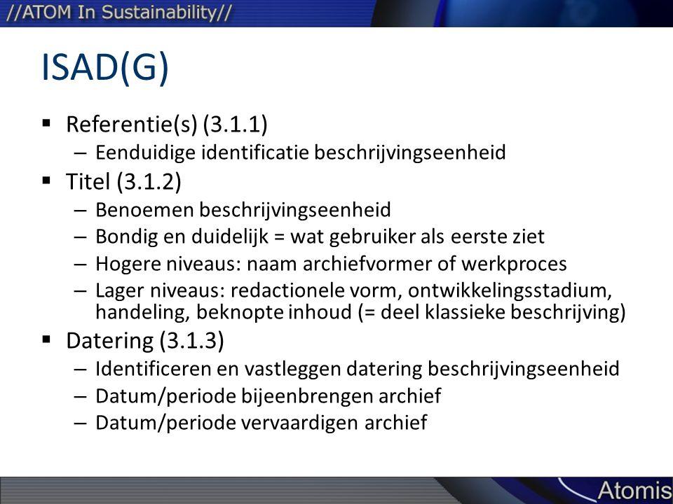 ISAD(G) Referentie(s) (3.1.1) Titel (3.1.2) Datering (3.1.3)