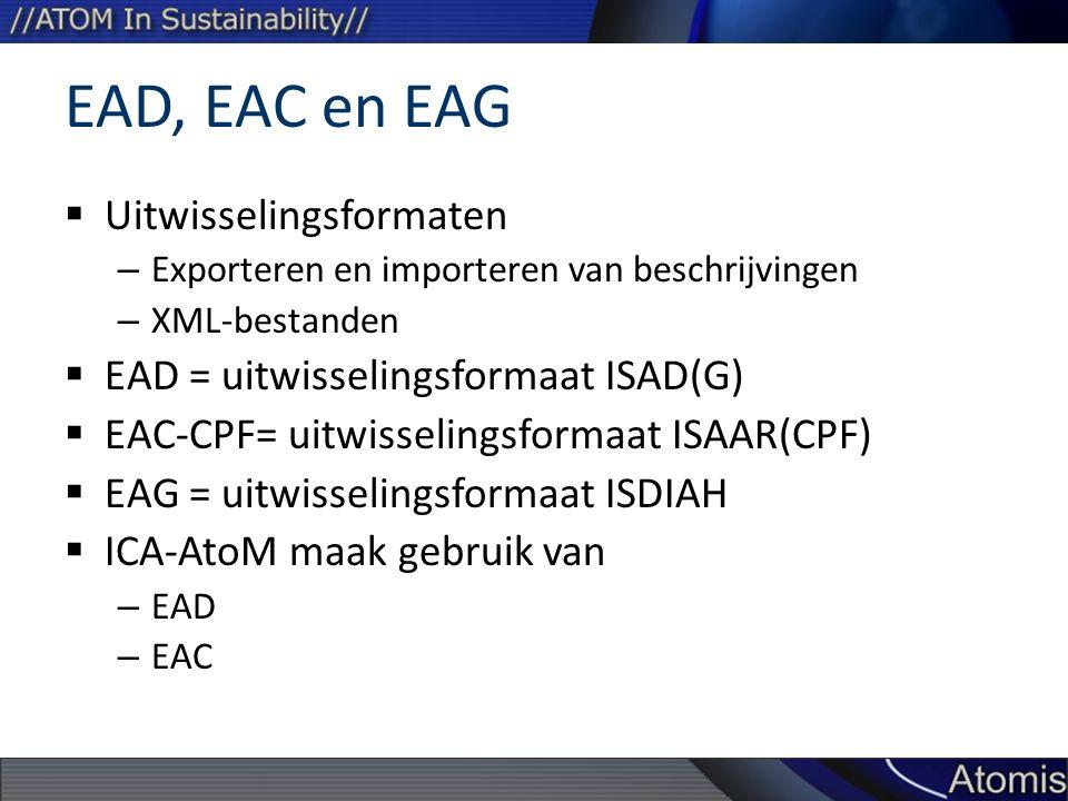 EAD, EAC en EAG Uitwisselingsformaten