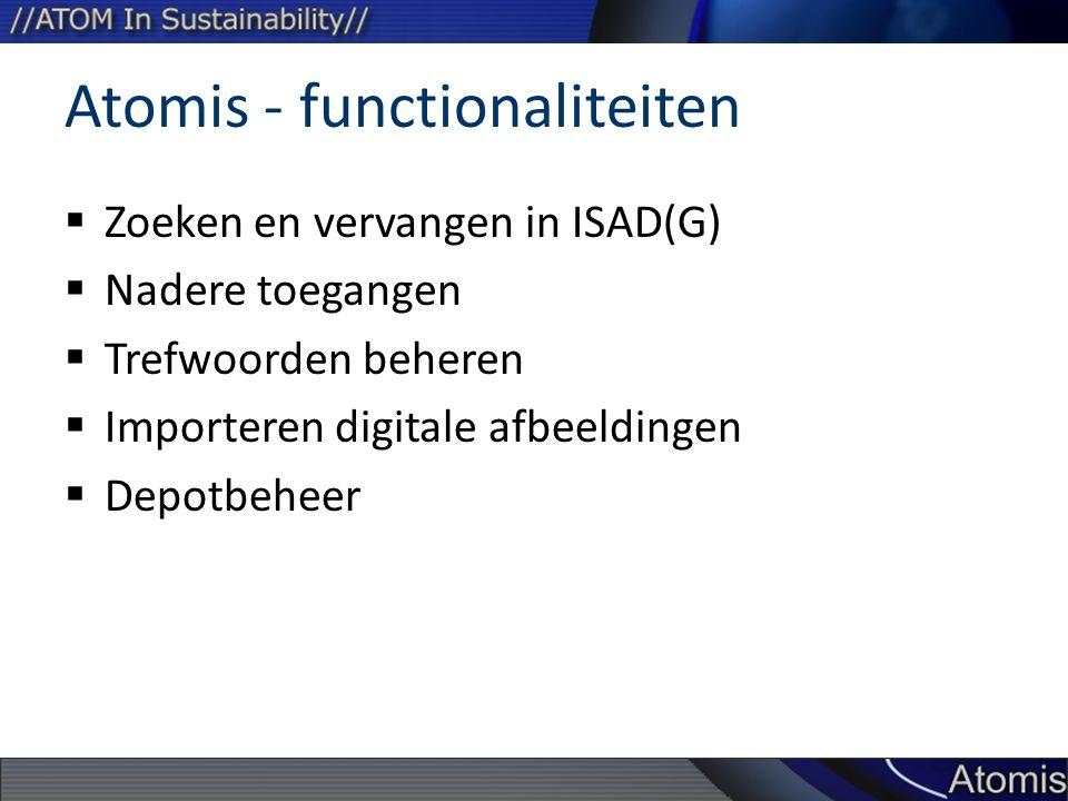 Atomis - functionaliteiten